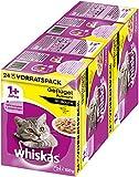 Whiskas Katzen-/Nassfutter Multipack Adult 1+ für Erwachsene Katzen Geflügelauswahl in Sauce, 48 Portionsbeutel (2 x 24 x 100 g)