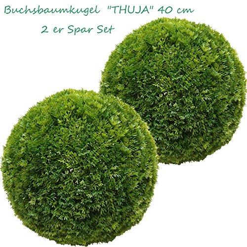 2 x 40 cm Ø künstliche Buchsbaumkugel – Thuja, Spar – Set, sehr natürlich wirkend