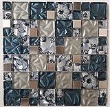 Glasmosaik Edelstahl Matte Grau Blau Sand Silber 30x30 Mosaik Fliesen Metall