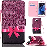 Ooboom® Samsung Galaxy S7 Edge Coque PU Cuir Flip Housse Étui Cover Case Wallet Stand avec Carte de Crédit Fentes Dragonne - Bowknot