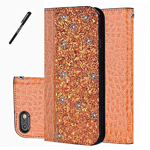 Tifightgo iPhone 5S Hülle,Handyhülle Lederhülle Ständer mit Ledertasche Krokodil Muster 3D Bling Case Glitzer PU Leder Flip Wallet Cover Brieftasche Etui für iPhone 5/5S/SE Schutzhülle in Orange