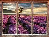 Traumhafte Lavendel Provence mit einsamen Baum Fenster 3D-Wandsticker Format: 92x62cm Wanddekoration 3D-Wandaufkleber Wandtattoo