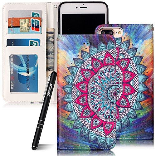Custodia iPhone 7 Plus , Slynmax Custodia Portafoglio [Slot Per Schede] [Chiusura Magnetica] [Funzione Stand] [Cuoio PU] Custodie Protettive Ultra Sottili Custodie Protettive Magnetic Closure Carte di Mezza Fiori