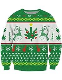 Ponticello di Natale, Chicolife Mens Felpa Unisex brutto divertente 3D stampato natale grafico Pullover maglione Santa Felpe S-XXL