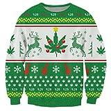 Christmas Sweater, ChicolifeUnisex hässlich Weihnachten Pullover Rentier Schneeflocke Unkraut Blatt 3d gedruckten Sweatshirt Tops klein