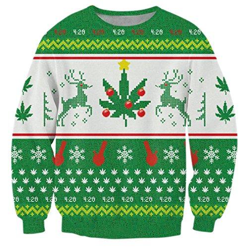 hicolifeUnisex grün Schneeflocke Rentier Print Mode Casual Langarm Ugly Weihnachten Xmas Pullover Sweatshirt Medium (Schneeflocken-pullover)