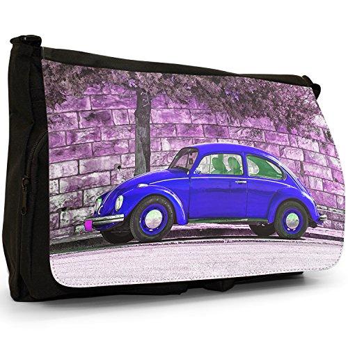 Old Classic, a forma di Maggiolino, colore: nero, Borsa Messenger-Borsa a tracolla in tela, borsa per Laptop, scuola Nero (Old Classic Blue Beetle Car)