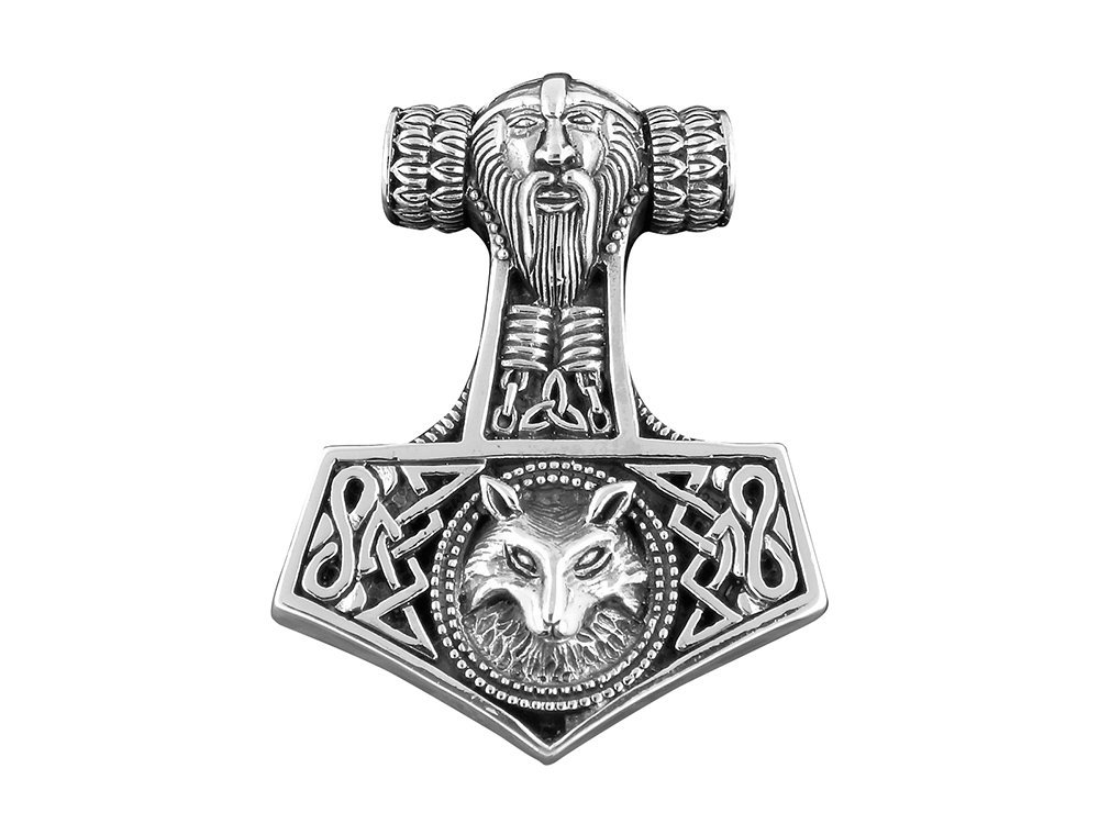 Thor's Hammer (Mjolnir) with Viking Wolf Large Pendant 16 gr 925 Sterling Silver