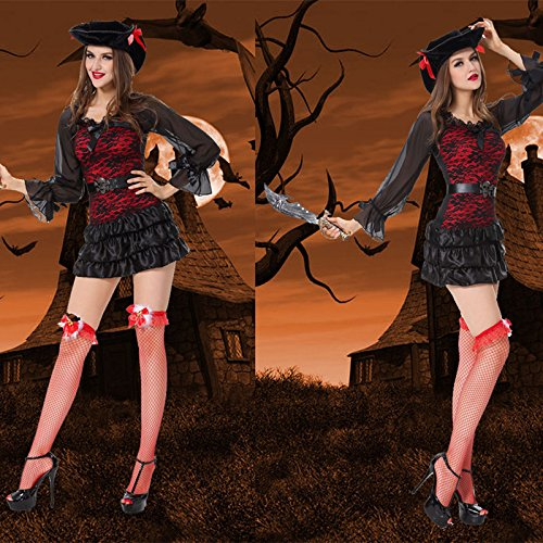 Weiblich Kostüm Teufel Makeup - Gorgeous Halloween-Piraten- Make-up- loading bar Partei Rolle Uniformen führen Tänzerin Kostüme Piratenkönigin ausgestattet