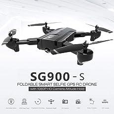 Momorain SG900-S 2,4G RC Drohne Faltbare Selfie Smart GPS FPV Quadcopter mit 1080 P HD Kamera Höhe Halten Sie Follow Me One Key Return (Farbe: Schwarz)