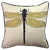 McAlister Textiles Novelty Kollektion   Bug's Life Kissenbezug   Gelbe Libelle 40cm x 40cm   gewebtes Tiermotiv Deko Kissenhülle für Zierkissen, Sofa, Bett, Couch Motivkissen