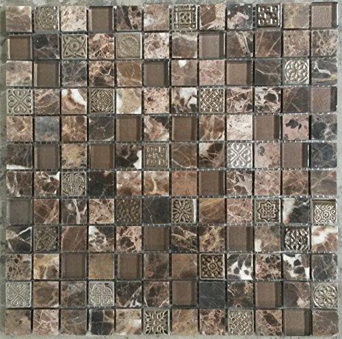 Glasmosaik und Marmor Matte mit Ornamente 30x30 cm Mosaik Fliesen Braun -