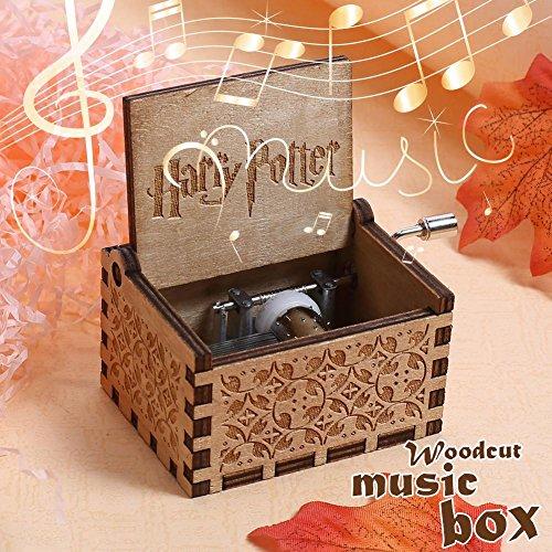 NELNISSA Harry Potter Caja de música grabada de madera caja de música Exquisitos regalos de Navidad/ divertidos niños juguetes/ hermosa decoración del hogar