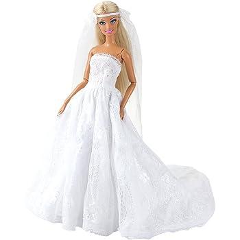 Miunana Vestito Abito Da Sposa Stile Principessa Per Festa Di Sera Con Velo Per  Barbie Doll Bambola Per Regalo 3d4a810ad96
