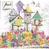 ambiente–Cóctel Servilletas–Bird Box–Primavera/flores/pájaros