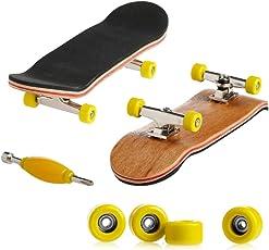 Kangnice Wooden Deck Fingerboard Skateboard Sport Games Kids Gift Maple Wood Yellow