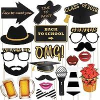 Yodeace 21 Pcs DIY Props Photo Booth Atrezzo Photocall Decoracion Incluyendo Bigotes Gafas Sombreros Labios Flores