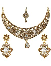 Penny Jewels Traditional Antique Gold Plated Sparkling Necklace Set For Women & Girls