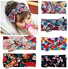 Fameza Fabric Multi-Colour Baby Turban Knotted Hairbands For Newborn Toddler And Childrens (Pack Of 6)
