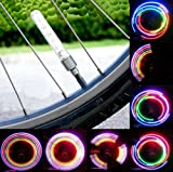 2 x Bicycle Bike Wheel Tire Valve Cap Spoke Neon 5 LED Flash Lights Lamp By Bestbuy66