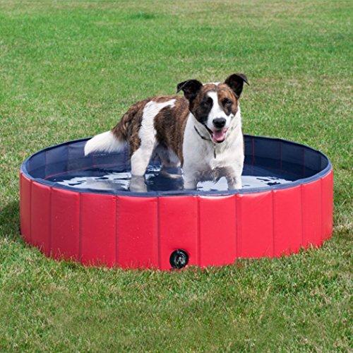 Malayas Doggy Pool das Planschbecken Hundepool Swimmingpool 80/120/160cm aus Rot Umweltfreundliche PVC Faltbare Haustier Badewanne für Hunde Katzen Baden Schwimmen Innen/Außen,(L:80×20cm)