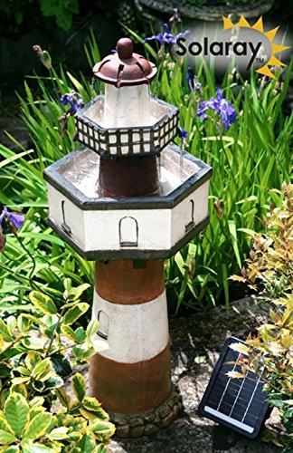Paylesswithss Leuchtturm mit 2 Ebenen, solarbetrieben, Wasserspiel