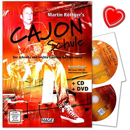 Cajon Schule - Der schnelle und leichte Einstieg ins Cajonspiel - Lehrbuch von Martin Röttger mit CD, DVD und bunter herzförmiger Notenklammer