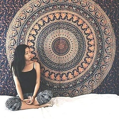 GANESHAM HANDICRAFTS - Indischer handgemachter Hippie Boho böhmischer Zigeuner-Zuhause-Dekor-dekorativer Hauptdekor-Mandala-Wand-hängender Tapisserie-Strand-Tuch Einzelnes Tagesdecke-Doppel-Tapisserie-Strand-Decke Indischer Bettwäsche-Yoga (Große Wand-dekor)
