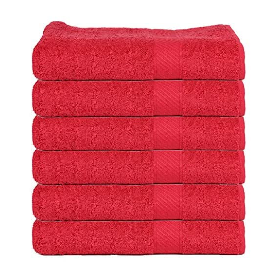 Trident 400 GSM 6 Pcs Hand Towels - Red