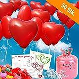 galleryy.net 50 Herzballons Hochzeit ROT Komplettset: 50 Herzluftballons + Helium Einwegflasche + 50 Ballonflugkarten für Luftballons zur Hochzeit
