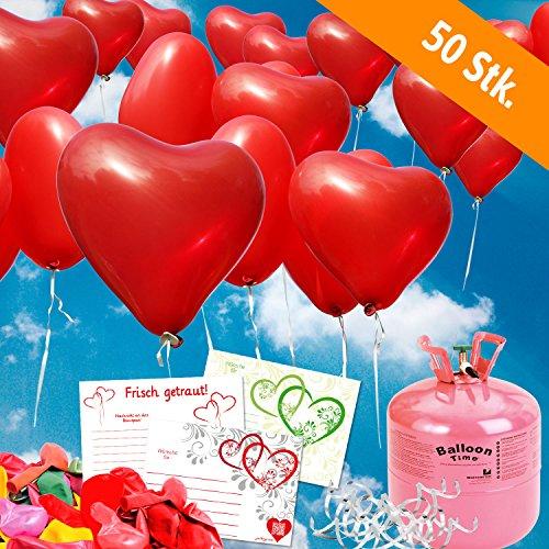 galleryy.net 50 Rote Helium - HERZBALLONS mit Ballonflugkarten - Komplett-Set aus Helium-Einwegflasche, Herzluftballons und Flugkarten - Gas Luftballons für bis zu 50 Hochzeitsgäste mit Flugkarten