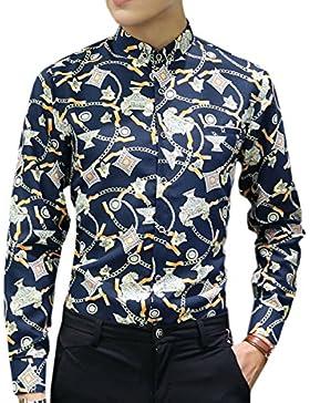 El Hombre Primavera Otoño Invierno Nuevo Estilo De Gran Tamaño Impreso Suelto De Manga Larga Casual Camisa
