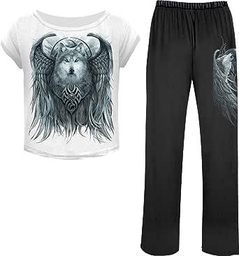 Spiral Wolf Spirit Pyjama NoirBlanc XL: