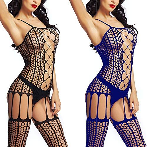 LOVELYBOBO 2-Pack Damen Unterwäschen Reizwäsche Netz Strumpfhose Bodystockings Hohle Blumen Frauen Bodysuit Nachtwäsche Dessous (schwarz+blau)
