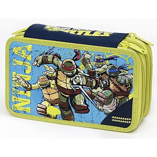 Trade shop traesio- astuccio 3 cerniere zip triplo tartarughe ninja colori accessori giochi preziosi