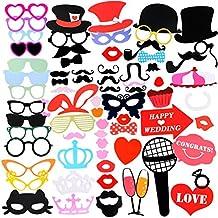Cabina de Fotos con accesorios para fiestas, aitesco 75 Piezas DIY Photo Booth Props Atrezzo Favorecer Incluyendo Máscara Gafas Labios Rojos Corbatas Sombreros para el partido, boda, cumpleaños del favor, de la graduación