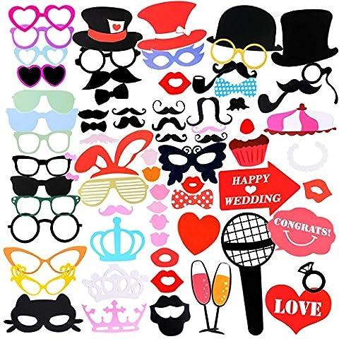 Accessoires Photobooth, 75pcs Masquerade Accessoires de Photos Lèvre/ Lunettes/ Cravate/