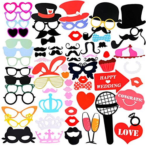 Fotorequisiten & Fotoaccessoires, 75 Stücke Photo Booth Hochzeit DIY Kit für Hochzeit Photo Booth Reunion Geburtstage Photo Booth Prop Dress-up Zubehör & Party Favors [Tabakspfeife, Kronen, Krawatten, Hüte, Bärte, Kussmünder, Brillen, Monokel]