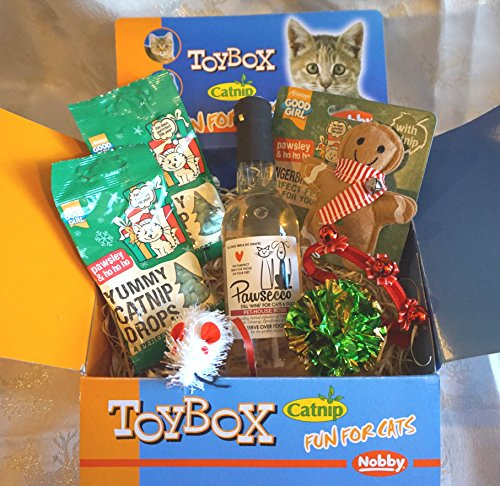 Paradise Pets LUXURY CAT BOX WITH CAT WINE TREATS TOYS AND XMAS CAT COLLAR