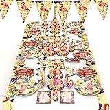 Flamingo - Vajilla para fiesta de cumpleaños con diseño de flor tropical, 90 piezas