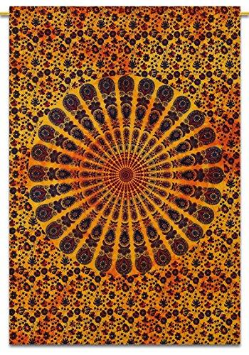 "Mandala Baumwolle Indian Wandbehang Tapisserie Poster Größe Gelb Dekor Boho Wurf 42""x 30"" Zoll"