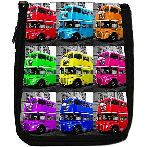 London Bus-Borsa a tracolla in tela, colore: nero, taglia: M Pop Art London Bus