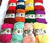 #10: ChicTheDecor Acrylic Wool Yarn Multi Rainbow Color Small Size 240 gm 12 Knitting Yarn Wool Ball Crochet Yarn
