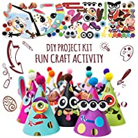 Kit de actividades para hacer gorros de fiesta – Bricolaje de manualidades con 12 sombreros coloridos, pompones y pegatinas. Kit de celebración divertido para niños y niñas, cumpleaños y Navidad