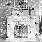 Lictin 51 Pezzi Halloween Decorazioni Ragnatele - 30pcs Piccolo Ragno, 10pcs Ragno ordinario, 10pcs Grande Ragno, 1pcs Decorazione a Ragnatela Retrattile (200g),Adesivi per Mani e Piedi dell'orrore