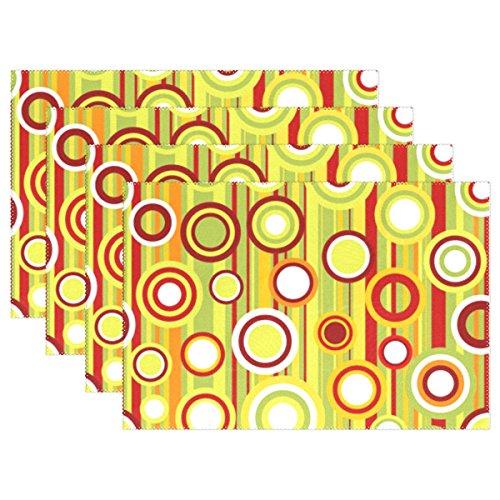 My Daily bunten Streifen und Kreise Tischsets für Esstisch Set der 4hitzebeständig waschbar Polyester Küche Tisch MATS, Polyester, multi, 12 x 18 in -