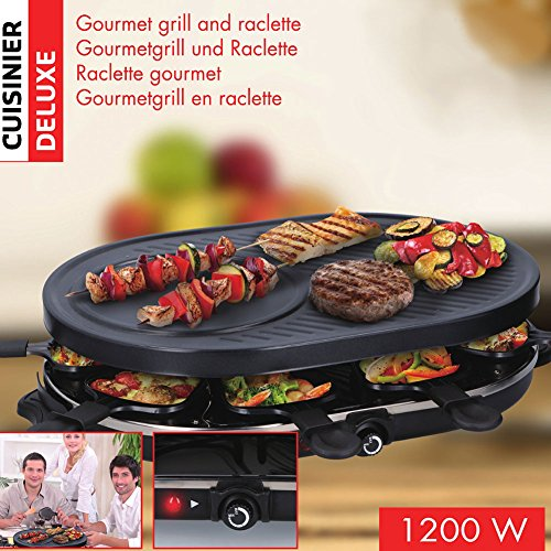 Cuisinier Deluxe Gourmet Raclette Grill XL (8-Persoons)