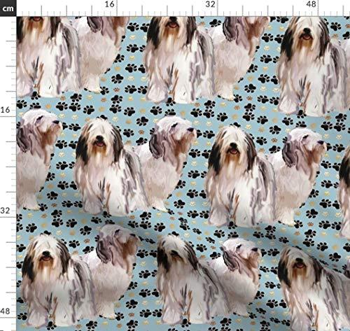 Bärtig, Collies, Tiere, Hunde, Pfote, Druck, Pfoten Stoffe - Individuell Bedruckt von Spoonflower - Design von Dogdaze Gedruckt auf Bio Baumwollsatin -