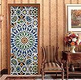 Holztüren renovieren Tür Aufkleber Farbe Kaleidoskop selbstklebende dekorative wasserdichte 3D Aufkleber an der Tür des Raumes