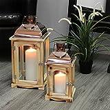 Dekoratives 2tlg. Laternen-Set H31/43cm mit Henkel Natur/Kupfer Laterne Gartenlaterne Kerzenhalter Gartenbeleuchtung Windlicht